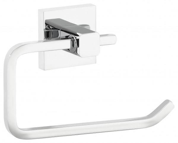 DELUXXE Toilettenpapierhalter, ohne Deckel, Metall, verchromt, inkl. Klebelösung