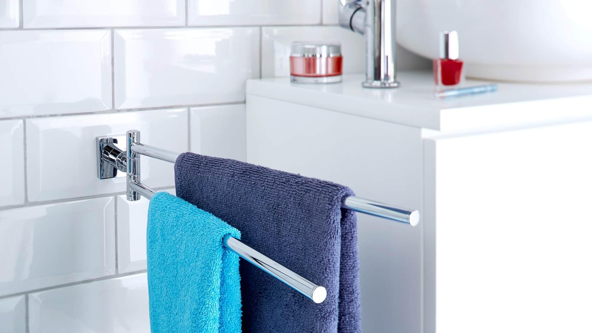 Handtuchhalter schwenkbar für Bad oder Gäste WC zum Kleben